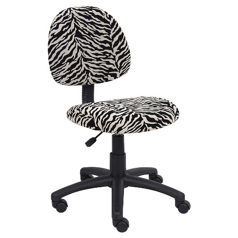 Zebra Print Microfiber Deluxe Posture Chair - Boss Office Products - image 1 of 4