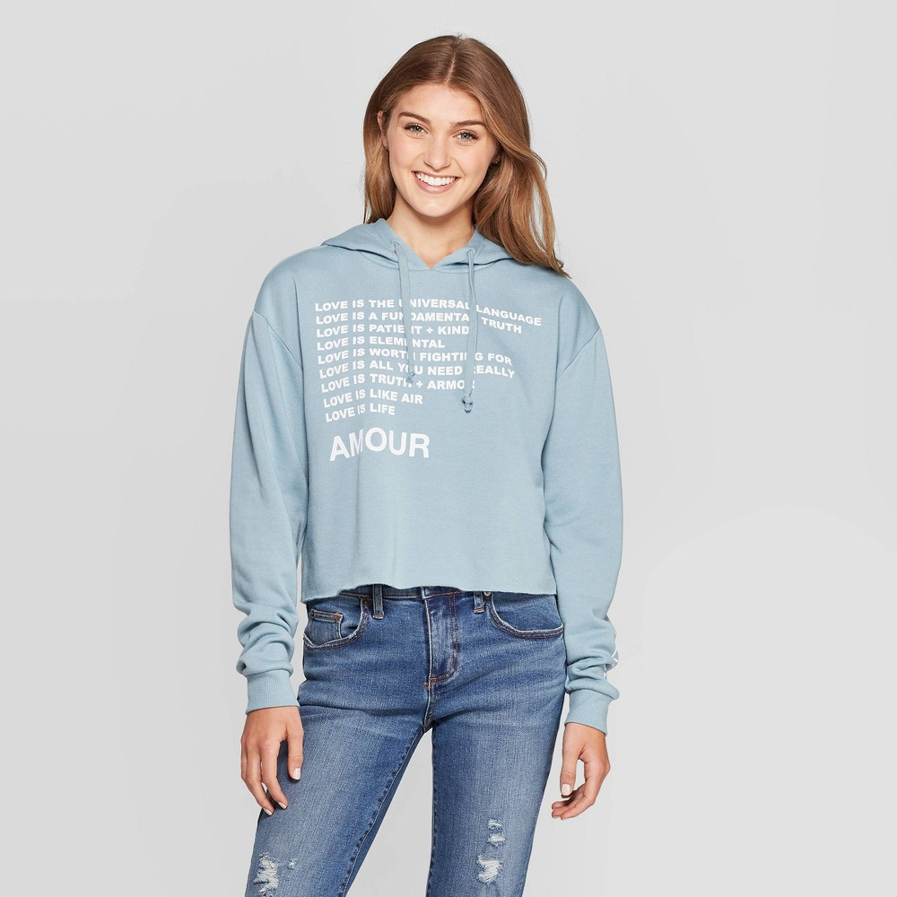 Image of Women's Amour Cropped Graphic Hoodie Sweatshirt (Juniors') - Light Blue L, Women's, Size: Large