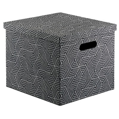 Lidded Milk Crate Storage Box 13  - Gray and Black - Room Essentials™