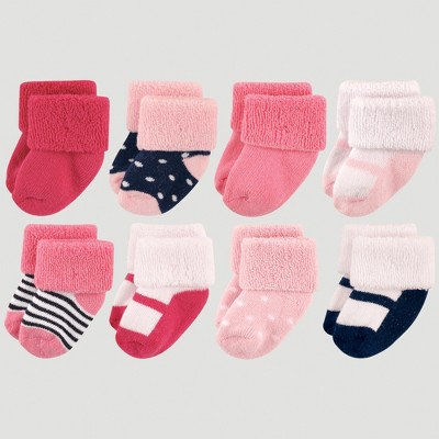Luvable Friends Baby Girls' 8pk Socks, Mary Jane - Navy 0-6M