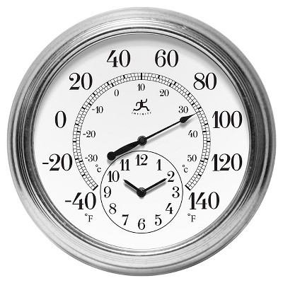 Infinity Instruments Prague Temperature and Time Outdoor Clock - 16 D - White/Gray