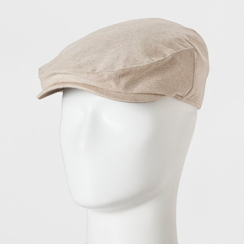 Men's Ivy Khaki Linen With Faux Suede Trim Driving Cap - Goodfellow & Co™ Cream One Size - image 1 of 2