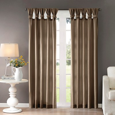 Lillian Twisted Tab Lined Curtain Panel Taupe 50 x108
