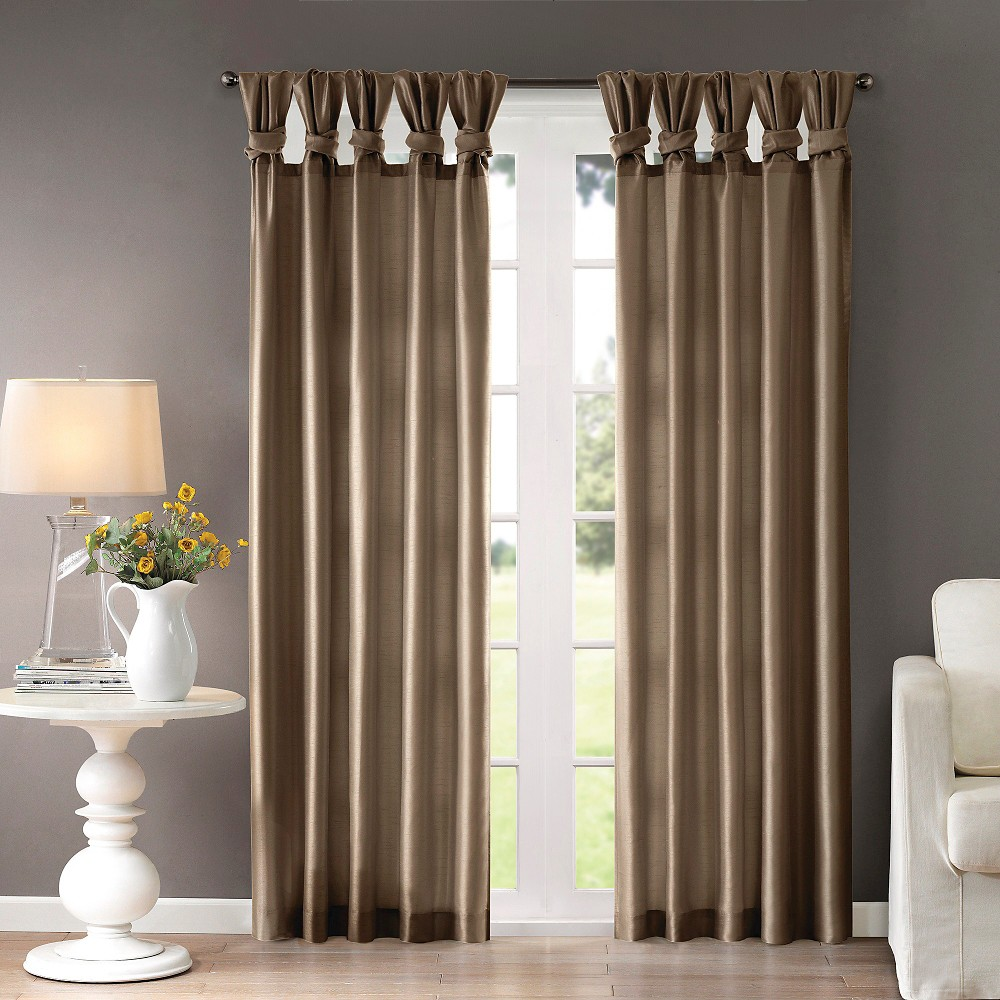 Lillian Twisted Tab Lined Curtain Panel Taupe (Brown) 50