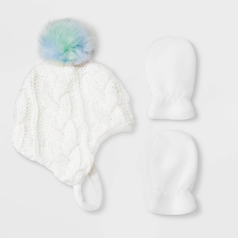 Image of Baby Girls' Knit Beanie & Flat Fleece Mittens Set - Cat & Jack White 3-6M, Toddler Girl's