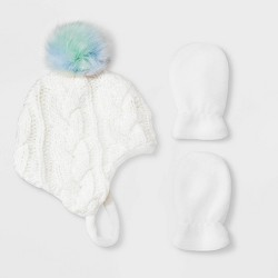 Baby Girls' Knit Beanie & Flat Fleece Mittens Set - Cat & Jack™ White