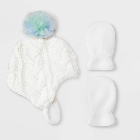 Baby Girls' Knit Beanie & Flat Fleece Mittens Set - Cat & Jack™ White - image 1 of 1