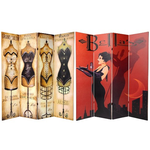 6' Tall Double Sided Mannequin And Singer Canvas Room Divider 4 Panel - Oriental Furniture - image 1 of 3