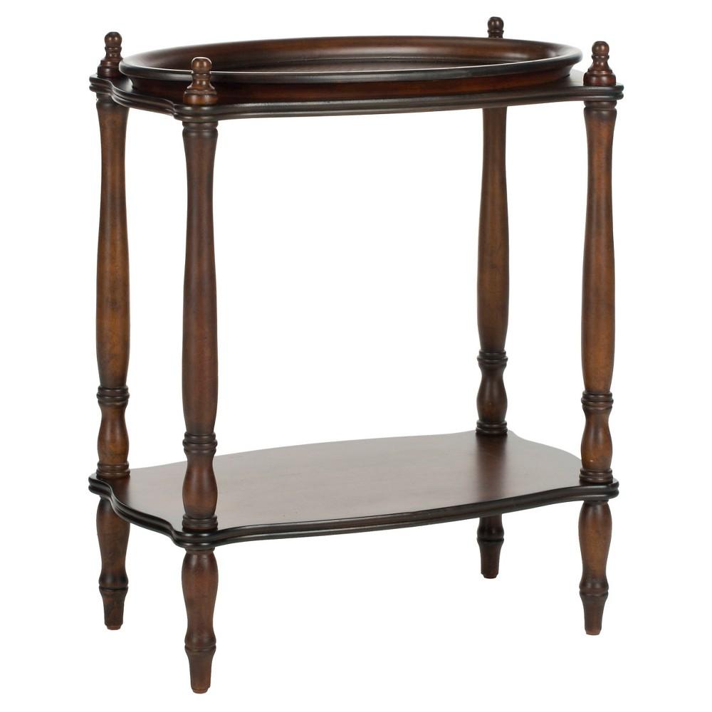 Todd Side Table Antique Brown - Safavieh, Antique Dark Brown