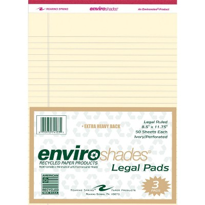 Enviroshades Legal Pads, 8-1/2 x 11-3/4 Inches, Ivory, 50 Sheets, pk of 3