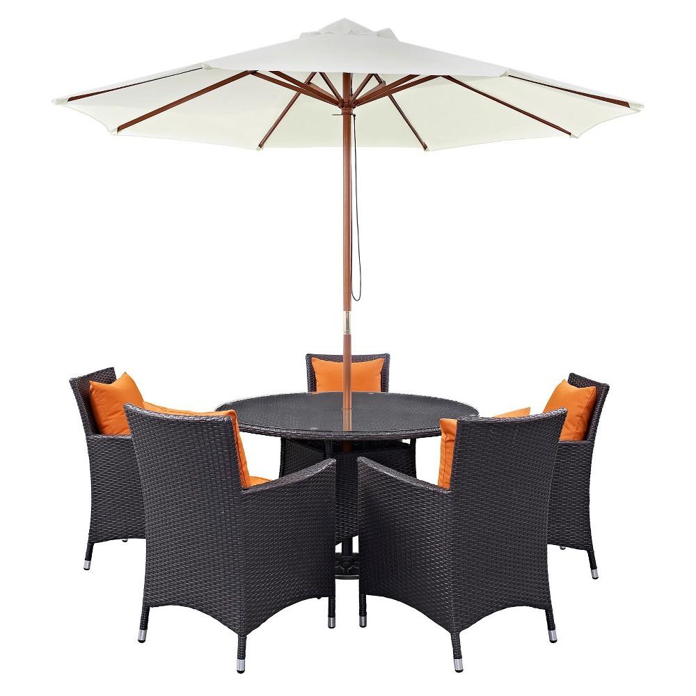 Convene 7pc All-Weather Wicker Patio Dining Set w/ 47 Umbrella - Espresso/Orange - Modway