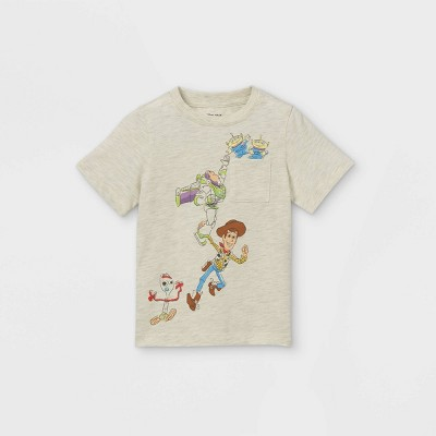 Toddler Boys' Toy Story Short Sleeve Pocket T-Shirt - Cream