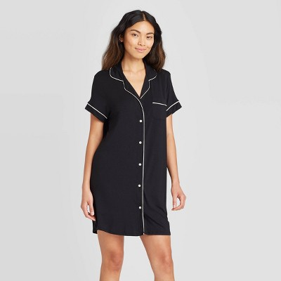 Women's Short Sleeve Beautifully Soft Notch Collar Nightgown - Stars Above™ Black M