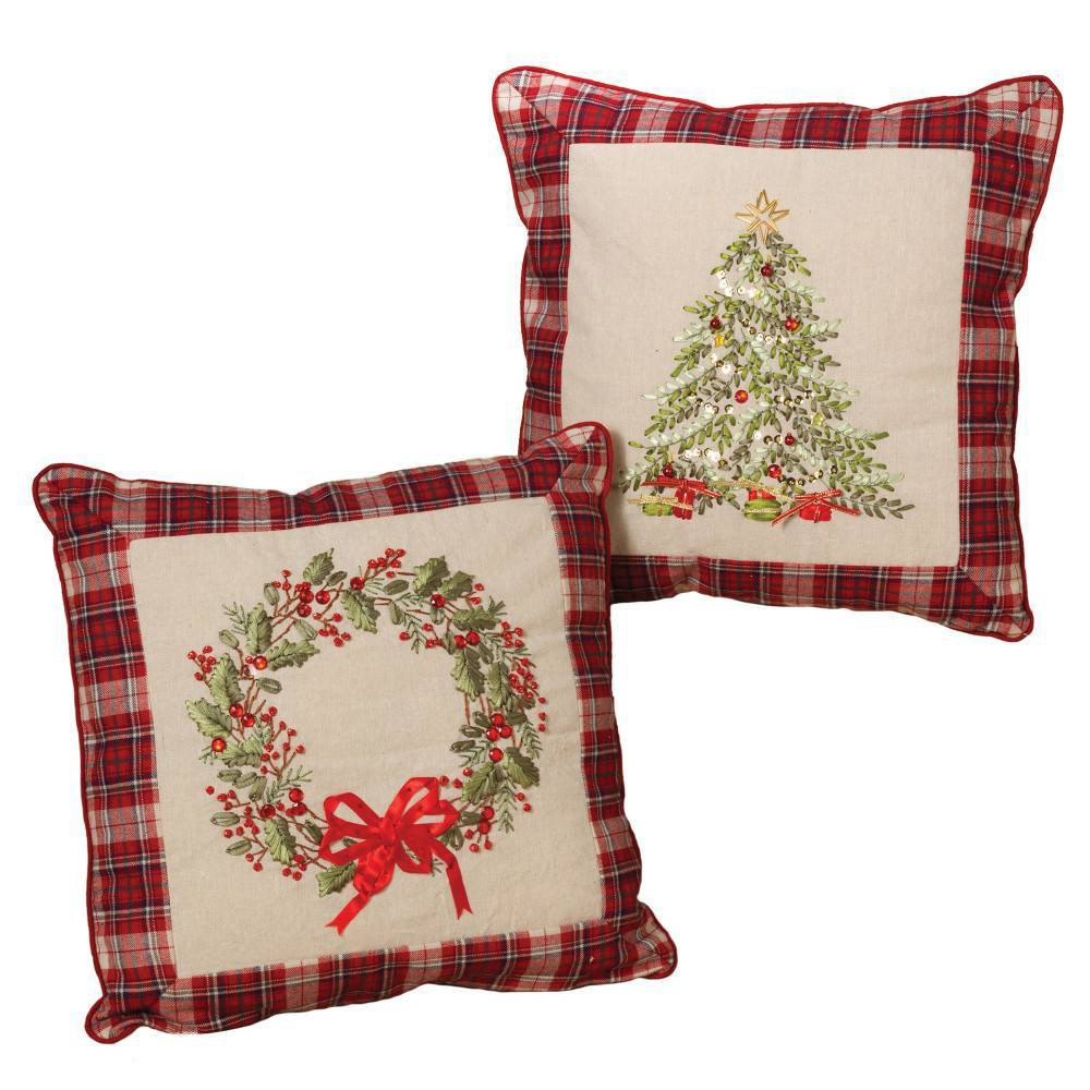 "Image of ""16""""/2ct Christmas Tree and Wreath Cotton Throw Pillows Brown and Red - Gerson International"""