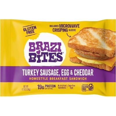 Brazi Bites Gluten Free Turkey Sausage, Egg & Cheddar Frozen Breakfast Sandwich - 4.7oz