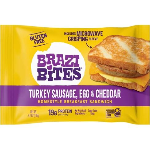 Brazi Bites Gluten Free Turkey Sausage, Egg & Cheddar Frozen Breakfast Sandwich - 4.7oz - image 1 of 4