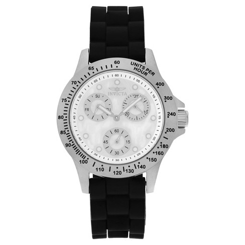 Women's Invicta 21968 Speedway Quartz Chronograph White Dial Strap Watch - Black - image 1 of 3