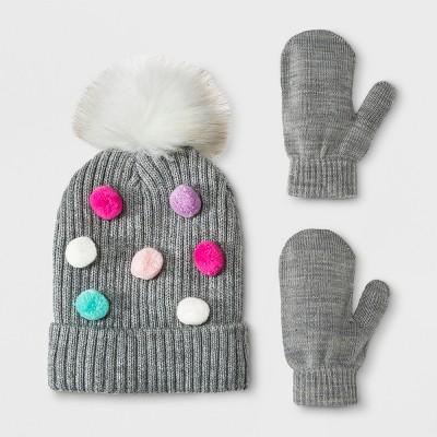 Toddler Girls' Multi Dot Pom Beanie Hat and Mitten Set - Cat & Jack™ Gray 12-24M