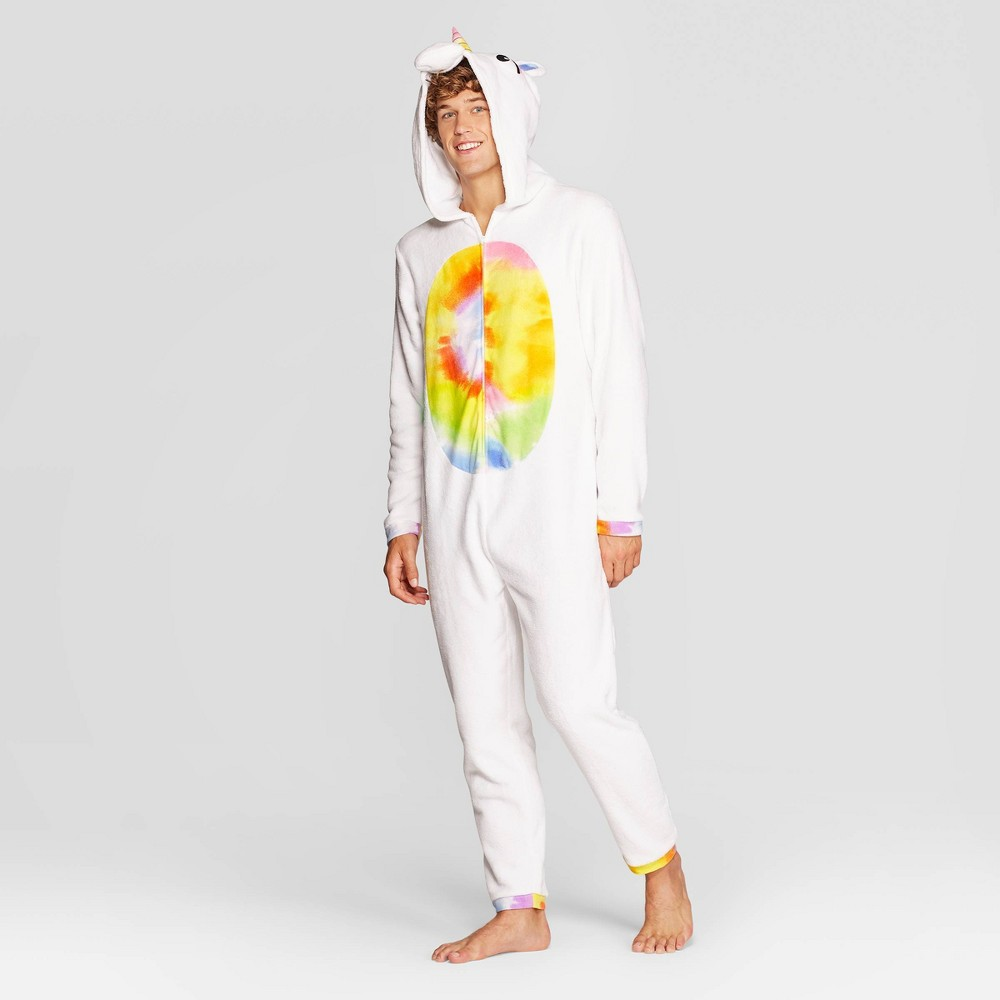 Image of Men's Unicorn Long Sleeve Union Suits - White L, Size: Large