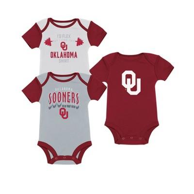 NCAA Baby Boys' 3pk Bodysuit Oklahoma Sooners - 0-3M