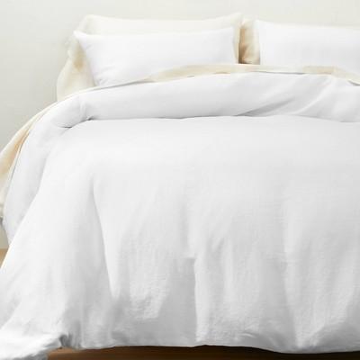 King Linen Duvet & Sham Set White - Casaluna™