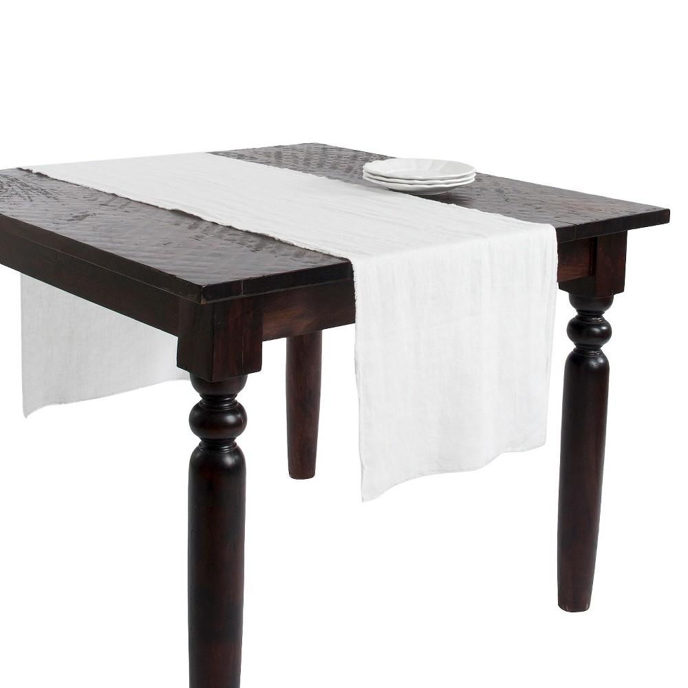 16 34 X72 34 Fringed Design Stone Washed Table Runner Ivory Saro Lifestyle