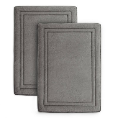 2pc Quick Drying Memory Foam Framed Bath Mat with GripTex Skid-Resistant Base Gray - Microdry