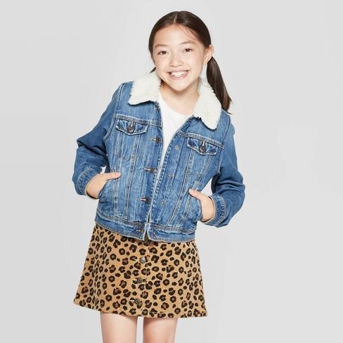 be948aace33 Girls' Sherpa Jean Jacket - Cat & Jack™ Medium Wash L : Target