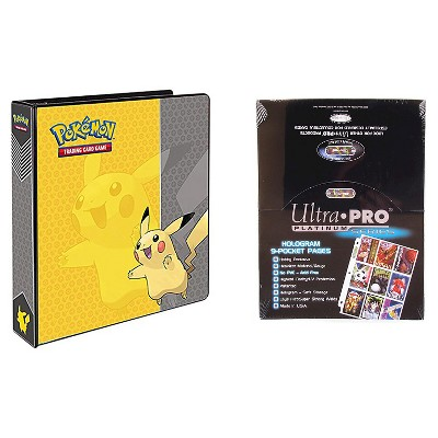 "Ultra Pro Pokémon Pikachu 2"" 3-Ring Binder Card Album with 100 Ultra Pro Platinum 9-Pocket Sheets Card Game"