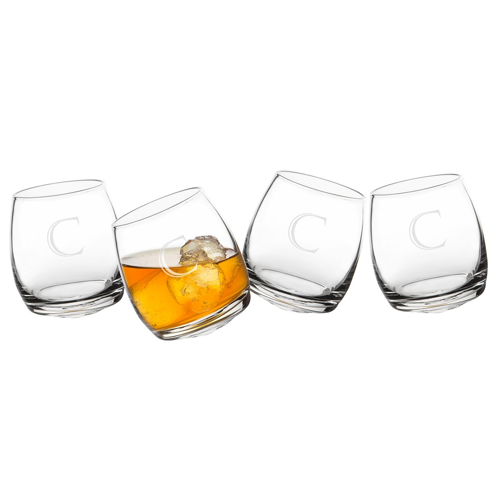 Cathy's Concepts Monogrammed Tipsy Whiskey Glasses C 7oz - Set of 4, Clear
