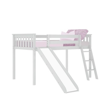 Max & Lily Twin Low Loft Bed with Slide