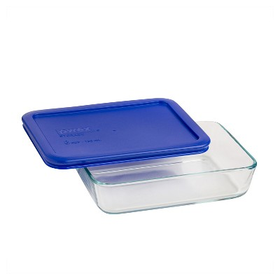 Pyrex 3 Cup Rectangle Glass Storage Container Blue