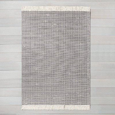 5' x 7' Textured Stripe Area Rug Railroad Gray / Sour Cream - Hearth & Hand™ with Magnolia