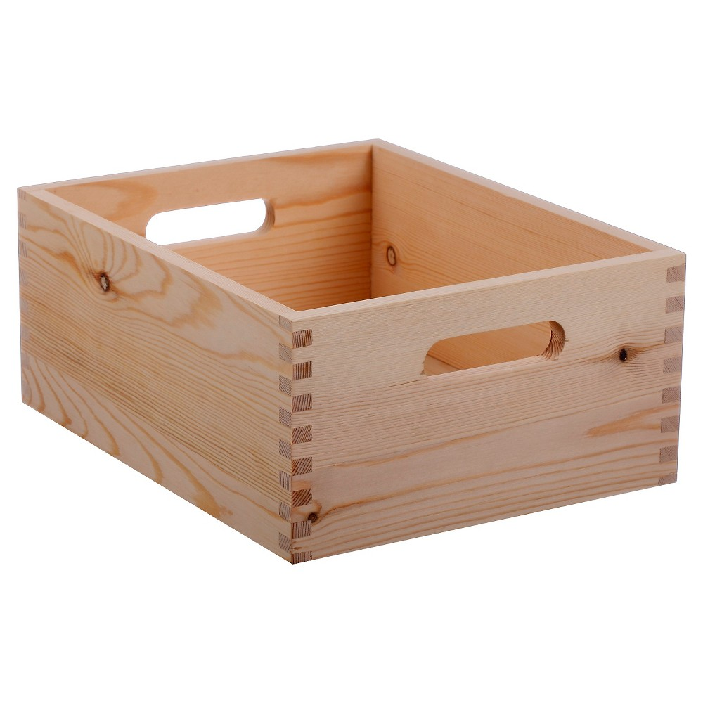 Hand Made Modern Small Wood Crate, Square - 5 x 12 x 9, Natural