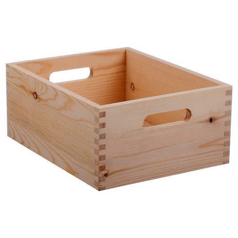 Hand Made Modern Small Wood Crate Square 5 X 12 X 9