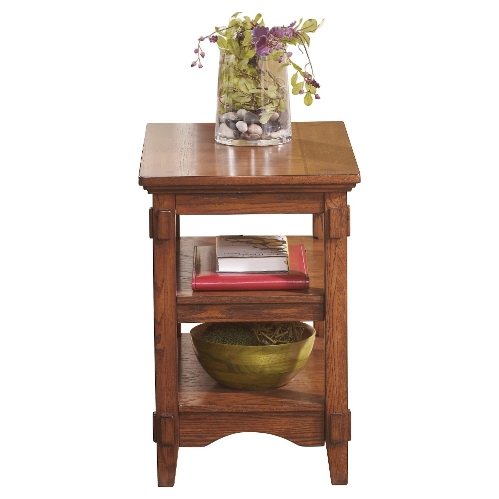 Cross Island Chair Side End Table Medium Brown - Signature Design by Ashley