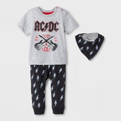 Perryscope Baby Boys' 3pc AC/DC Short Sleeve T-Shirt, Joggers and Bib Set - Black/Gray 0-3M
