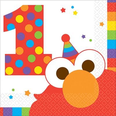 Birthday Express Sesame Street Elmo Turns One Beverage Napkins - 16 Pack