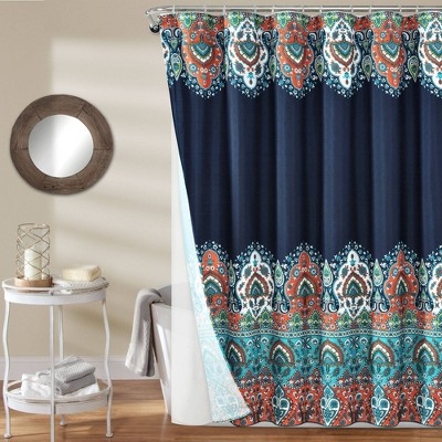 14pc Bohemian Meadow Shower Curtain with Peva Lining and Rings Set - Lush Décor