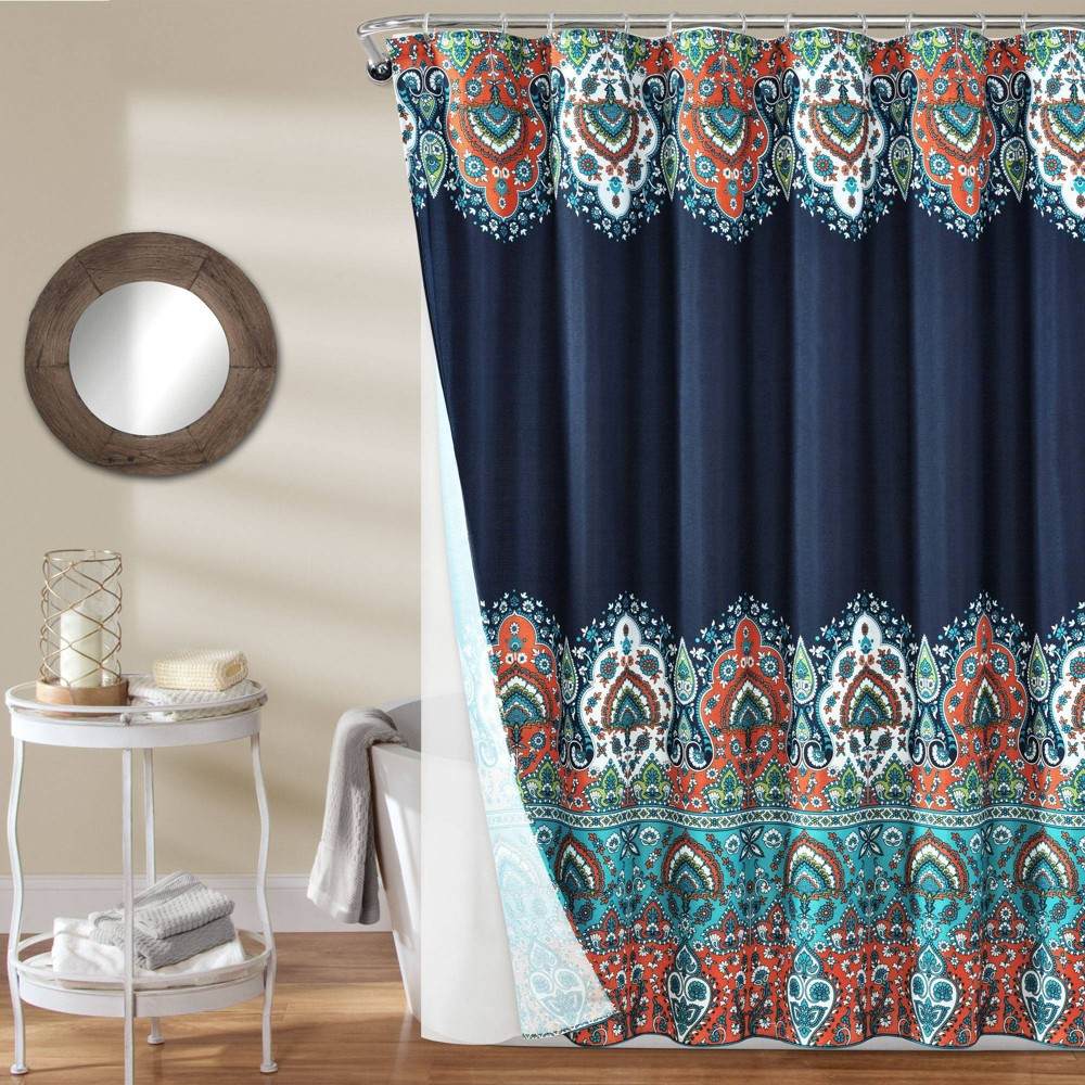 Image of 14pc Bohemian Meadow Shower Curtain with Peva Lining and Rings Set Navy - Lush Decor, Blue