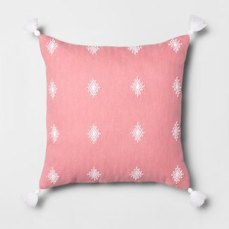 Embroidered Diamond Oversize Square Throw Pillow Pink - Opalhouse™