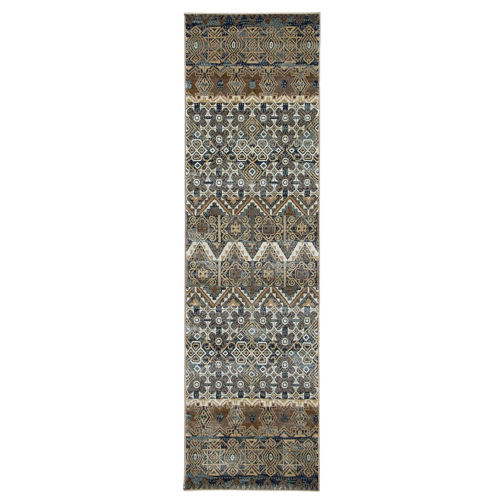 Rizzy Home Bennington Collection Runner Rug - Gray/Ivory/Beige (2'3