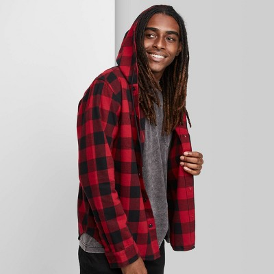 Men's Plaid Long Sleeve Hooded Flannel Button-Down Shirt - Original Use™