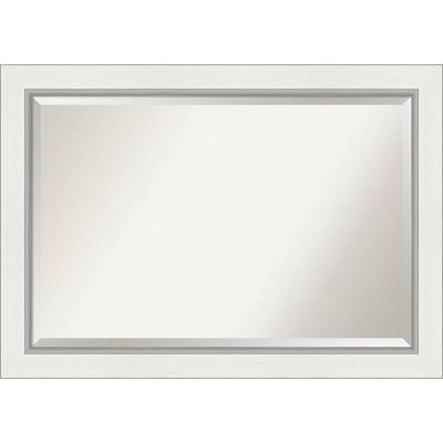 "41"" x 29"" Eva White Silver Framed Bathroom Vanity Wall Mirror - Amanti Art"