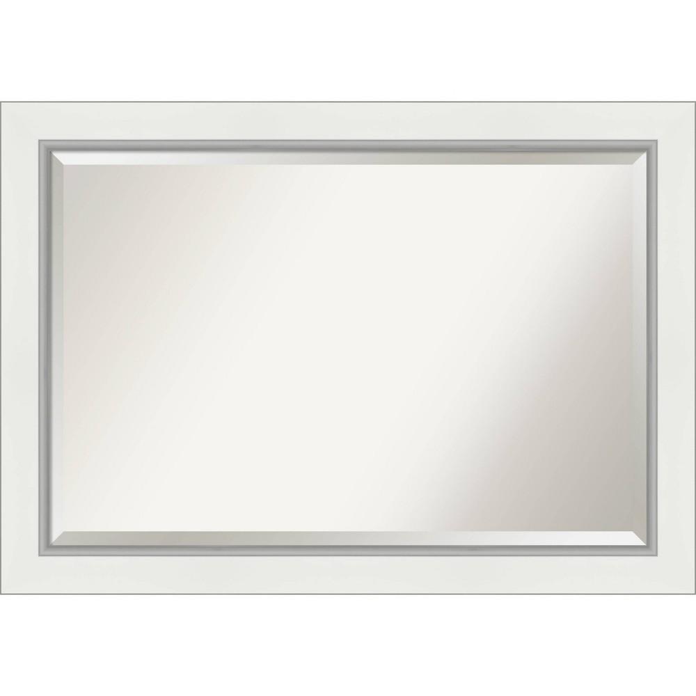 "Image of ""41"""" x 29"""" Eva Framed Bathroom Vanity Wall Mirror White/Silver - Amanti Art"""