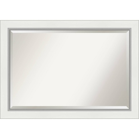41 X 29 Eva White Silver Framed Bathroom Vanity Wall Mirror Amanti Art Target