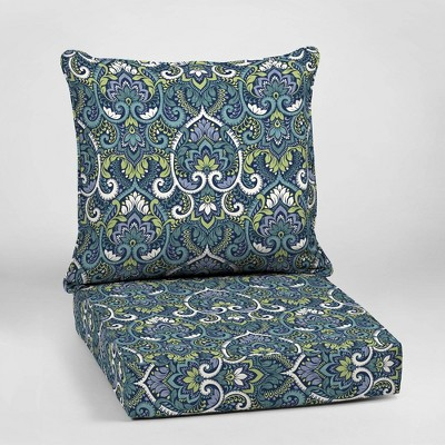 Aurora Damask Deep Seat Outdoor Cushion Set Sapphire - Arden Selections
