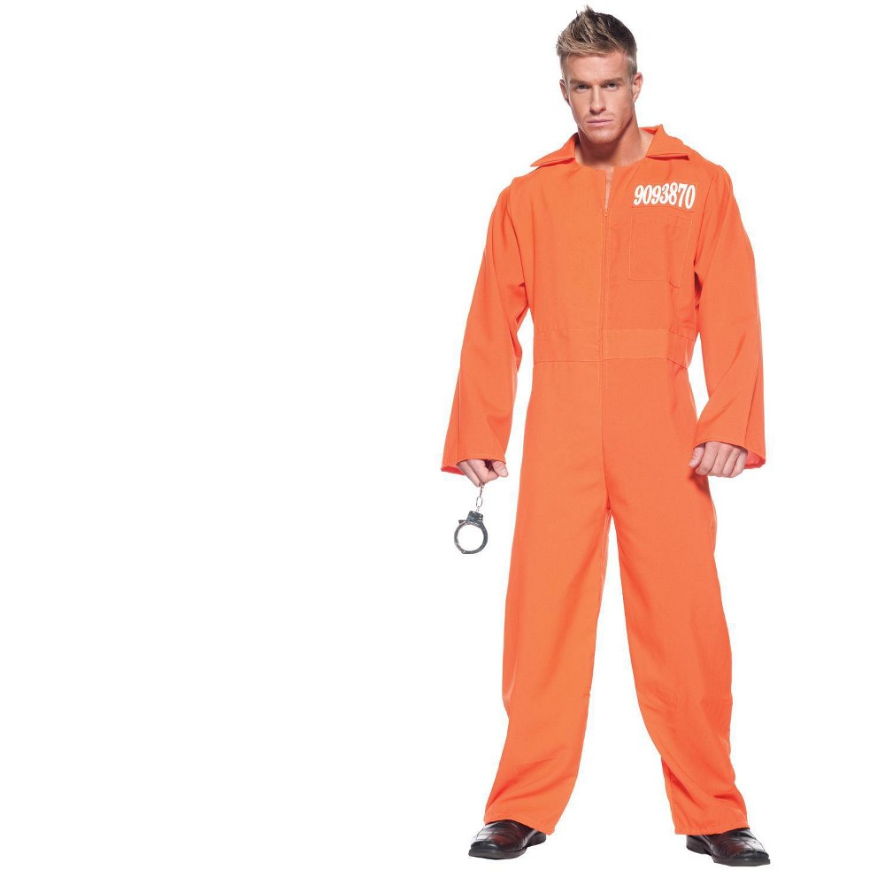 Adult Prison Jumpsuit Halloween Costume Orange One Size