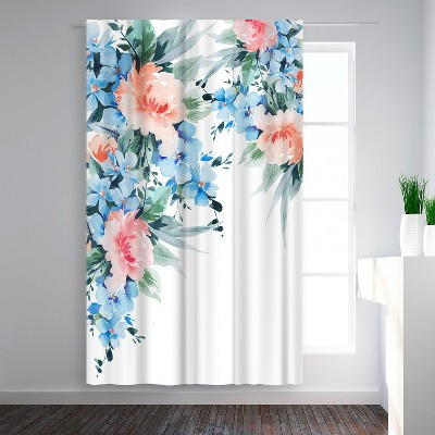 Americanflat Blue Orange Blossom Bouquet Watercolor by Victoria Nelson Blackout Rod Pocket Single Curtain Panel 50x84