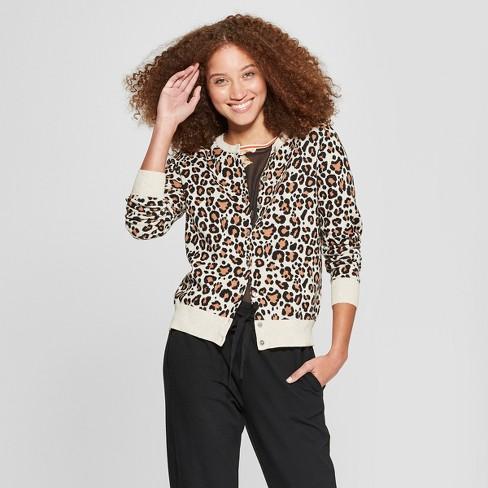 b5fd7191c Women s Animal Print Crewneck Cardigan - A New Day™ Camel XS   Target
